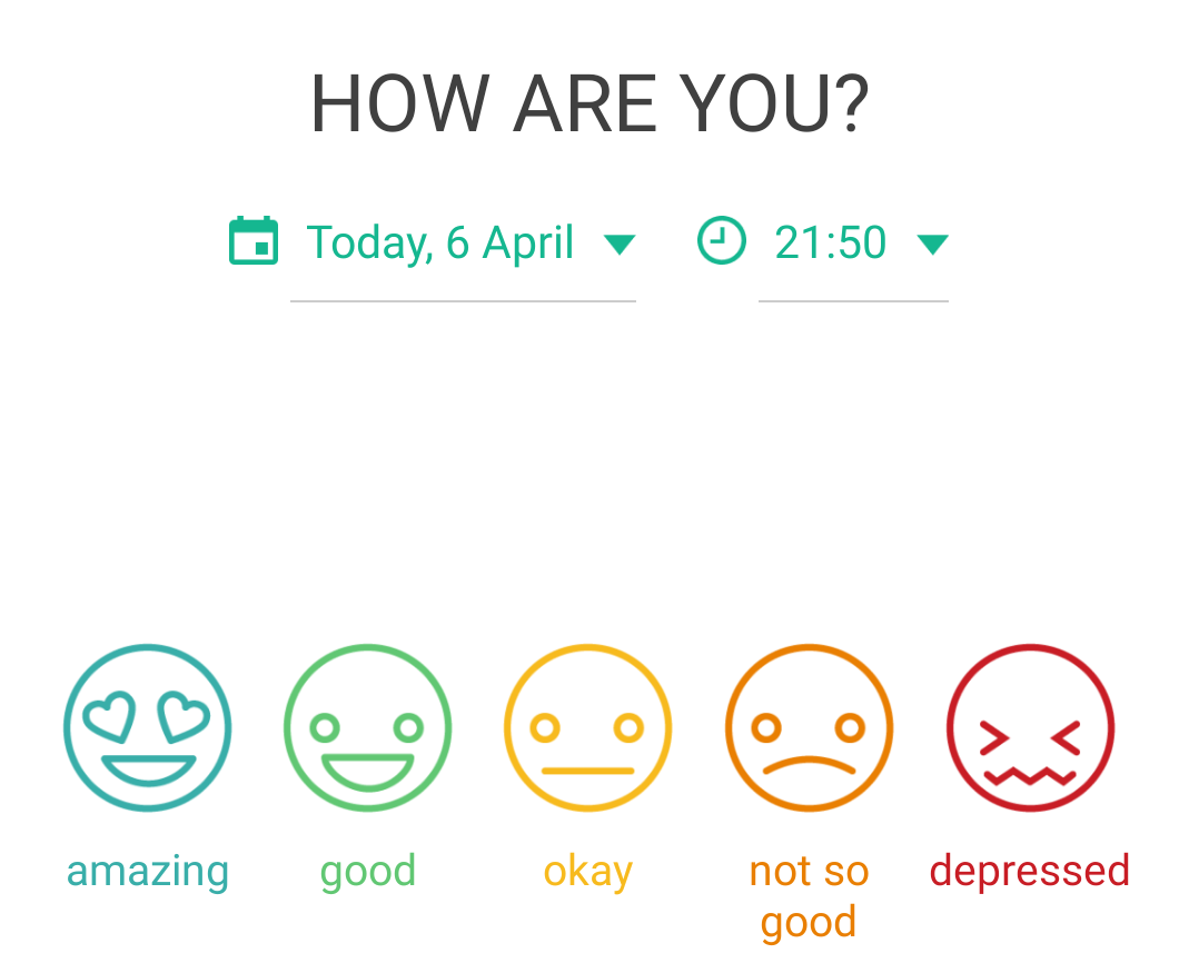 How are you? Daylio mood tracker app screen